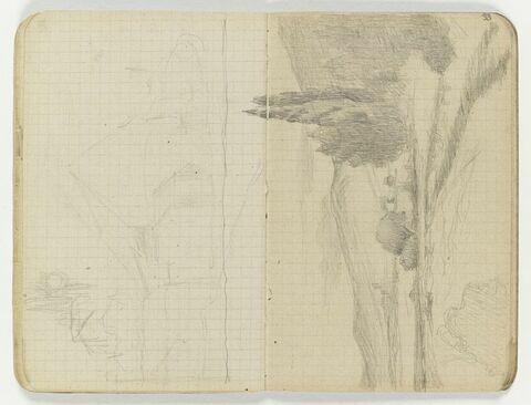 Paysage avec de grands arbres dans un champ de montagnes dans le fond (le haut des deux arbres est dessiné sur le folio 32 verso)