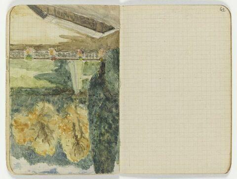 Coin de parc avec terrasse au premier plan et grands arbres à gauche et dans le fond