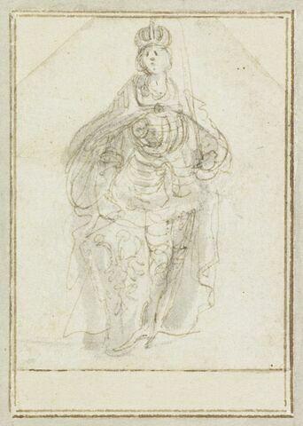 Projet de cartes à jouer : Femme debout de face, couronnée, tenant un glaive ; à ses pieds, un écu avec les armes de la maison d'Autriche