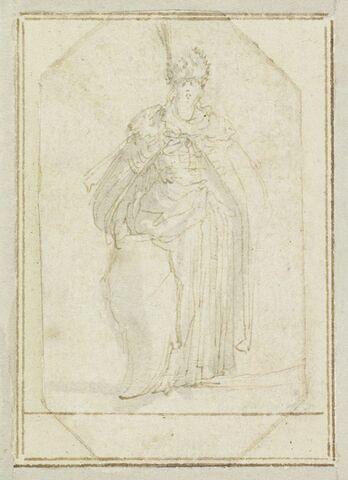 Projet de cartes à jouer : Femme debout en turban à aigrette,  tenant un bouclier