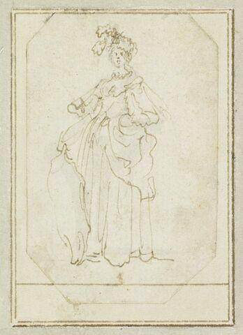 Projet de cartes à jouer : Femme debout portant un turban et tenant un bouclier
