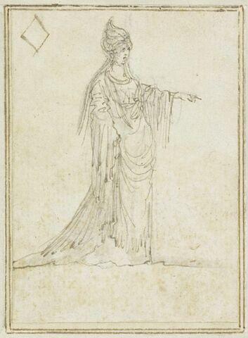 Projet de cartes à jouer : Femme en manteau long et turban, le bras gauche étendu