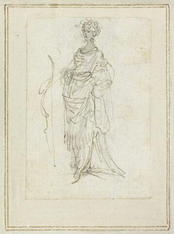 Projet de cartes à jouer : Femme de trois quarts à gauche, tenant un arc