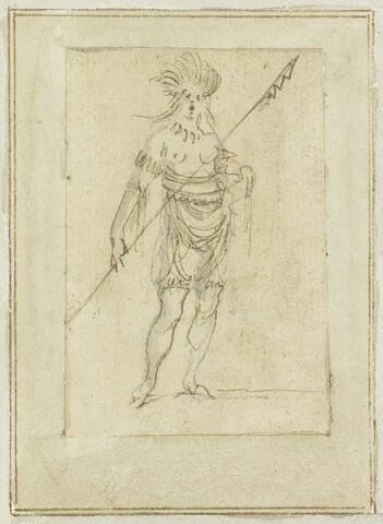 Projet de cartes à jouer : Femme de face, coiffée de plumes et tenant une lance