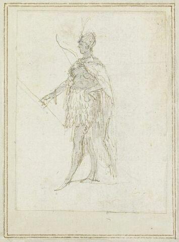 Projet de cartes à jouer : Homme de profil, portant un pagne, un arc et une flèche