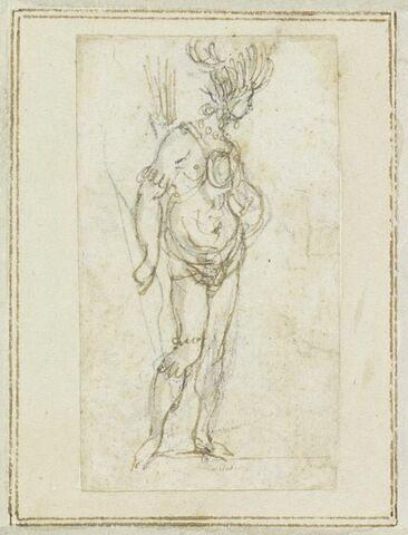Projet de cartes à jouer : Femme de profil, coiffée de plumes, tenant un arc et des flèches