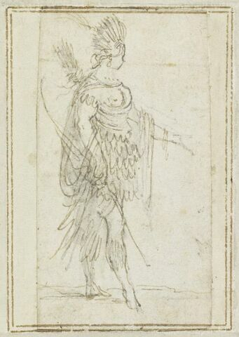 Projet de cartes à jouer : Femme de profil, coiffée de plumes, portant un pagne, un arc et des flèches