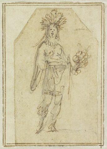 Projet de cartes à jouer : Femme de face, coiffée de plumes, tenant un plumet