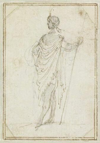 Projet de cartes à jouer : Homme de profil, portant un turban à aigrette, appuyé sur une lance