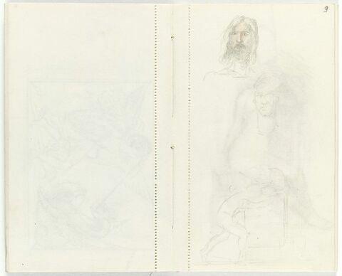 Tête d'homme barbu, de face, longs cheveux ; au-dessous, croquis d'une tête ; en bas, silhouette penchée de profil à droite, devant une dalle (?)