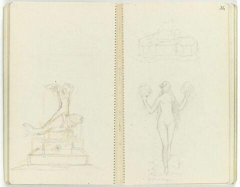 Femme nue assise sur un poisson au-dessous d'une base rectangulaire ; projet pour une fontaine