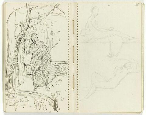 En haut, croquis d'après le portrait de Mme Récamier par David ;  en bas croquis d'après Prud'hon