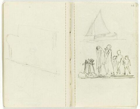 En haut, petit voilier ; en bas, deux femmes voilées et drapées et deux enfants près d'une tombe