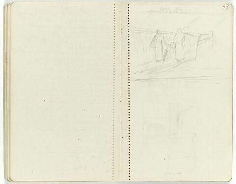 En haut, paysage avec deux personnages en conversation ; en bas, croquis indéterminé