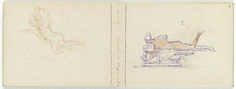 Femme nue, couchée sur le ventre, sur un banc de pierre, cueillant une plante (?) de la main gauche
