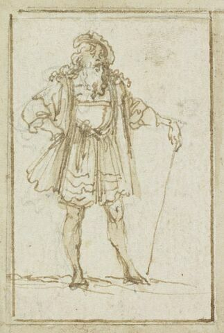 Projet de cartes à jouer : Homme appuyé sur un bâton