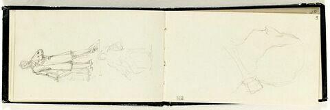 Croquis d'une tête, de profil à gauche, avec noeud de catogan sur la nuque