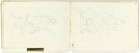 Croquis de deux figures en armure, l'une debout, l'autre assise, de trois quarts à gauche