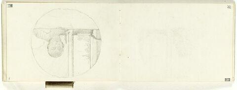 Homme vu en buste, de face, lisant, près d'une fenêtre, dans une encadrement circulaire
