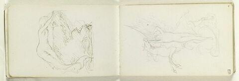 Cheval ailé cabré, maintenu par une figure masculine, nue, debout, dressée sur la pointe des pieds (Alexandre et Bucéphale ?)