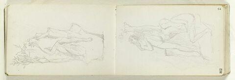 Figure féminine nue, assise, de face, la tête levée vers une figure masculine, nue, debout de face, tenant une lyre ; le couple est sur un rocher