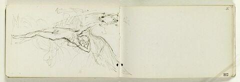 Figure nue, debout sur la pointe des pieds, tenant par le mors un cheval ailé, cabré, de face (Alexandre et Bucéphale ?). La pointe de l'aile est dessiné sur le folio 26 recto