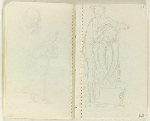 Figure assise sur une pierre, genoux repliés sur la poitrine et figure nue debout contre elle, s'appuyant des deux mains sur sa tête