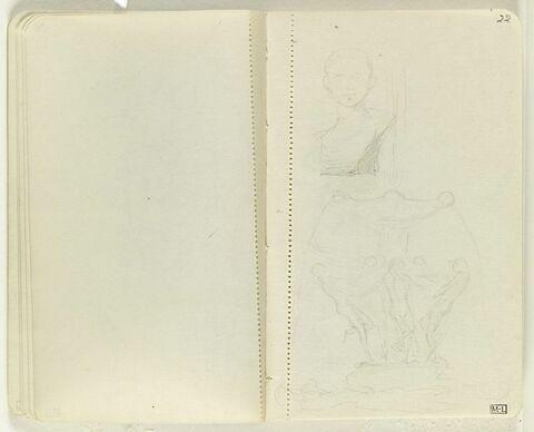 En haut, buste d'enfant, de face ; en bas, projet pour une fontaine avec nombreuses figures se tenant par la main autour de la base de la vasque