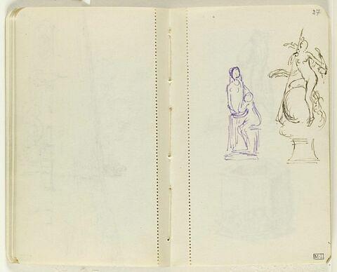 Deux petits croquis à gauche ; deux figures dont l'une debout, l'autre assise près d'elle ; à droite, figure féminine nue sur une sphère, tenant une lance et une corne d'abondance