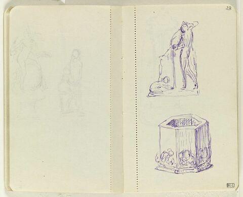 En haut, figure nue versant de l'eau d'une jarre sur un enfant accroupi ; en bas, puits hexagonal avec motifs décoratifs en partie basse