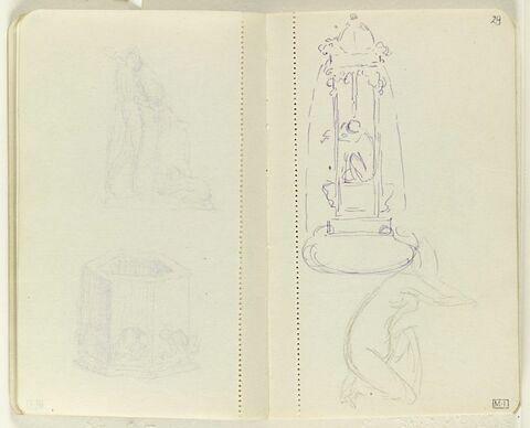 En haut, projet pour une fontaine avec figure accroupie entre les colonettes ; en bas, croquis d'une figure accroupie, de profil à droite