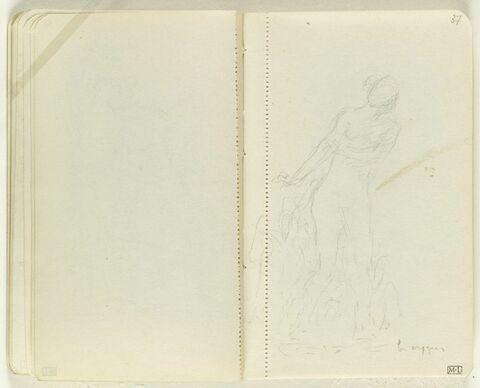 Figure féminine nue avançant vers la droite, des cygnes à ses côtés