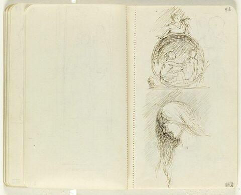 En haut, deux figures nues assises à l'intérieur d'une roue surmontée d'un putto ; en bas, femme nue en buste, de profil à gauche, cheveux [?], en haut à droite, petit croquis imperceptible d'un buste, dans un encadrement carré