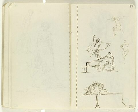 Deux petits croquis de silhouettes sautant ou dansant ; au centre, figure assise devant une table sur laquelle danse une figure voilée ; en bas, objets divers sur une table