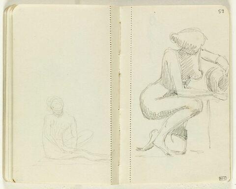 Figure assise sur le sol, jambe gauche repliée