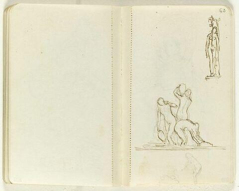 Au centre, trois figures nues dans l'eau avec des vases ; en haut, figure féminine debout près d'un arbre ; en bas, petit croquis d'une figure nue tendant la main vers un cygne. Croquis imperceptible d'une tête avec un chapeau (?) en haut à gauche