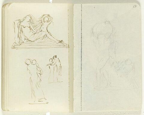 En haut, femme nue, à demi couchée, avec une enfant près d'elle soulevant son voile ; en bas, deux croquis, femme portant un enfant et deux silhouettes enlacées