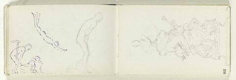 Personnage nu debout, légèrement penché en avant, de profil à droite. Trois croquis de figures nues, l'une volant ou plongeant, les deux autres en conversation, l'une assise, l'autre penchée vers elle