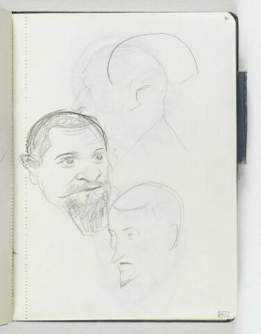 Au centre, tête d'homme, barbu, de trois quarts à droite, avec moustache et deux légers croquis de têtes d'homme, de trois quarts et de profil vers la gauche
