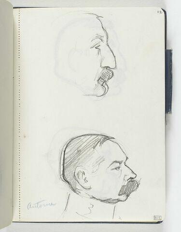 En haut, croquis inachevé d'une tête d'homme au nez busqué, petite moustache, de profil à droite. En bas, tête d'homme moustachu, de profil à droite, avec un col officier