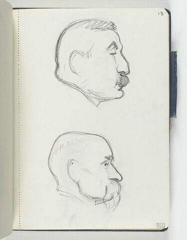 En haut, tête d'homme moustachu, de profil à droite. En bas, tête d'homme, chauve, avec moustache pendante, de profil à droite
