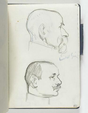 En haut, tête d'homme chauve, moustache pendante, de profil à droite. En bas, tête d'homme moustachu, de trois quarts à droite