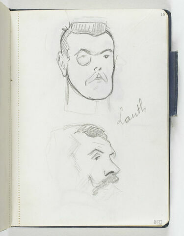 En haut, tête d'homme, moustachu, avec monocle. En bas, croquis inachevé d'une tête d'homme moustachu, de trois quarts, à droite