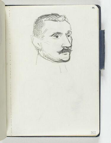 Tête d'homme moustachu de trois quarts à droite