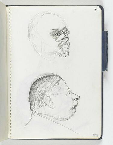 En haut, croquis barré d'une tête d'homme barbu de trois quarts droite. En bas, tête d'homme joufflu, moustachu, avec petites lunettes, de profil à droite