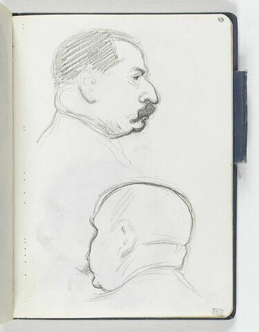 En haut, tête d'homme moustachu, au nez busqué, de profil à droite. En bas, croquis inachevé d'une tête d'homme chauve, de dos, de trois quarts à gauche