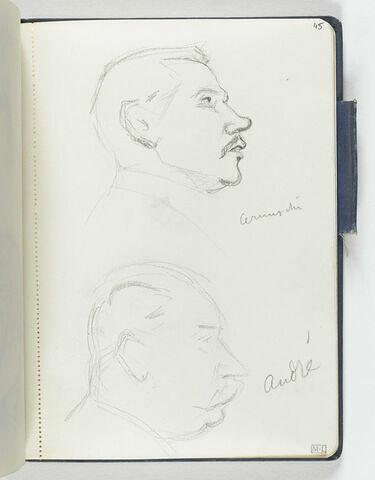 En haut, tête d'homme moustachu, au nez retroussé, de profil à droite. En bas, croquis inachevé d'une tête d'homme moustachu, de profil à droite