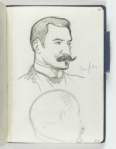 En haut, homme vu en buste, de trois quarts à droite, avec moustache et bouc. En bas, tête d'homme de profil à droite, avec moustache