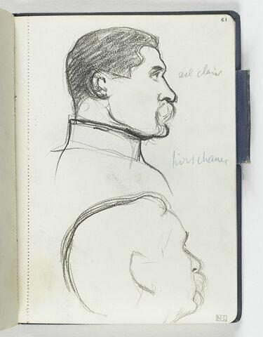 En haut, tête d'homme moustachu, de profil à droite, col officier. En bas, croquis inachevé d'une tête d'homme moustachu, de profil à droite