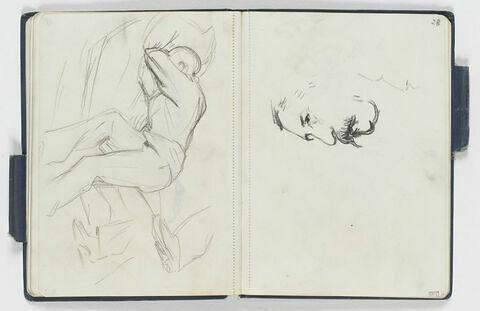 Homme à demi étendu sur un lit, la tête dans les bras repliés enfouie dans un oreiller. Reprise de la silhouette à droite